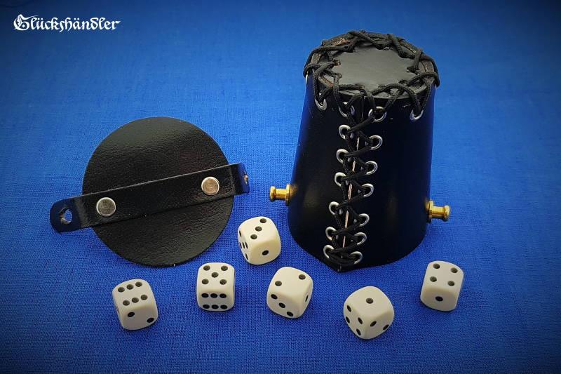 Würfelbecher mit Deckel & Ösen - Leder schwarz mit 6 Würfel 16mm