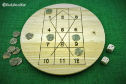 Fish head - game - wood with 12 coins and 2 cubes