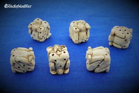 Menschleinwürfel in 69 Position Nachbildung eines antiken Würfels 6 Stück