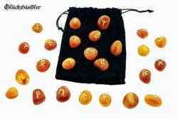 Runen Set - Karneol mit Samtsäckchen