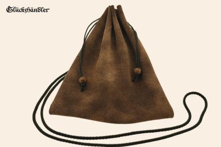 Geldkatze - Mittelalter Geldbeutel - dunkelbraun - Rustikal mit schwarzer Kordel
