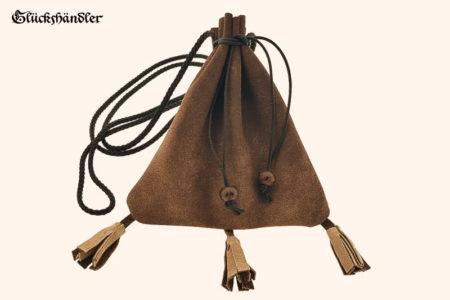 Geldkatze - Mittelalter Geldbeutel - dunkelbraun mit Quasten Rustikal und schwarzer Kordel