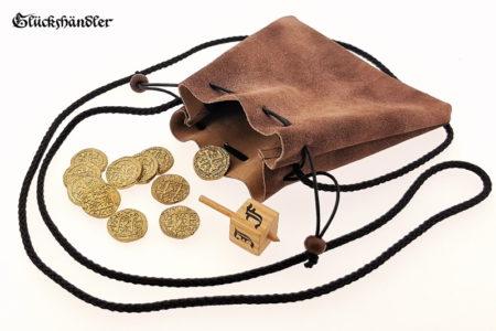 Geldkatze - Mittelalter Geldbeutel 15cm dunkelbraun Rustikal mit Münzen und Toton
