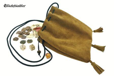 Geldkatze - Mittelalter Geldbeutel, Lederbeutel 20cm hellbraun mit Quasten offen mit Münzen