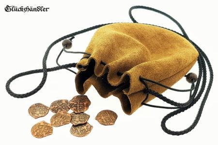 Geldkatzen - Mittelalter Geldbeutel rund - offen mit Münzen