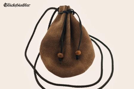 Lederbeutel - historischer Geldbeutel - Geldkatze dunkelbraun Rustikal