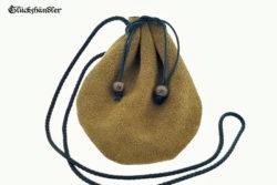 Lederbeutel - historischer Geldbeutel - Geldkatze hellbraun mit schwarzer Kordel