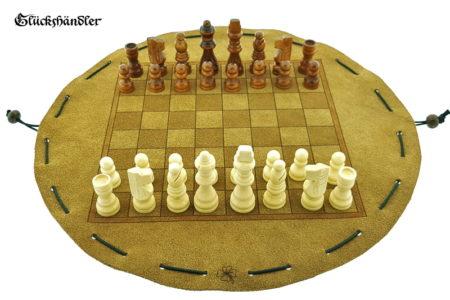Schachbrett - aus Leder, Größe d 34cm, als Beutelspiel mit Schachfiguren...