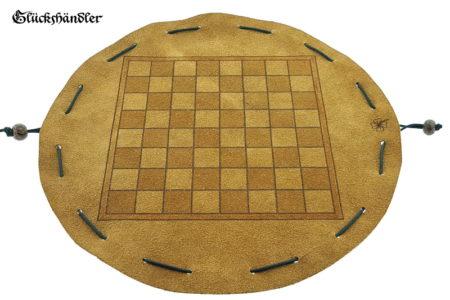 Schachbrett - aus Leder, Größe d 34cm als Beutelspiel ohne Figuren