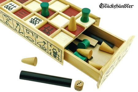 Senet wooden board game opened with tiles.