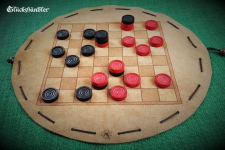 Baschni, Brettspiel aus Leder mit Spielsteinen aus Holz schwarz & rot -II