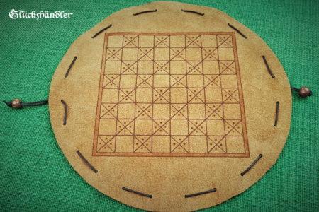 Schachbrett-Mittelalter- Beutelspiel aus Leder