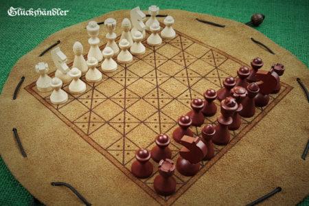 Schachbrett-Mittelalter- Beutelspiel aus Leder Größe d 28cm