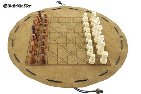 Schachbrett-Mittelalter aus Leder Größe d 34cm als Beutelspiel mit Figuren