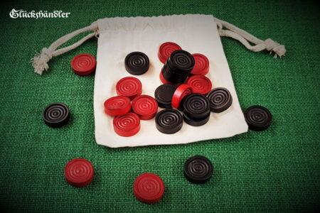 Spielfiguren für Baschni & Dame Holz schwarz & rot mit Stoffbeutel