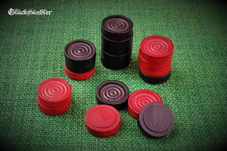 Spielsteine für Baschni, Dame aus Holz rot & schwarz