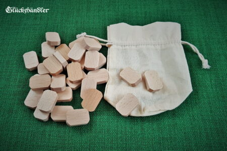 Runen-Rohlinge aus heimischen Hölzern mit Stoffbeutel