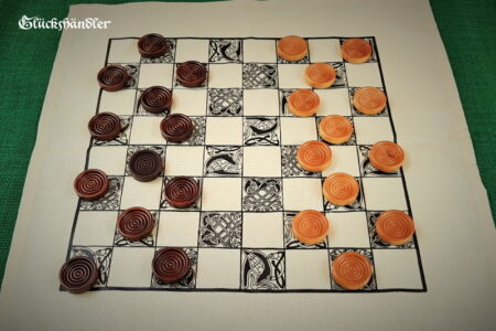 Dame Spiel-Stoff mit Spielsteinen aus Holz