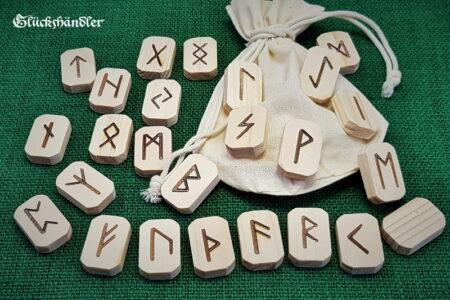 Runen Orakel Set - Fichte Natur mit Baumwollbeutel
