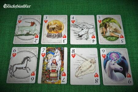 Spielkarten-Bicycle Unicorns von Anne Stokes & John Woodward Herz 2-9.