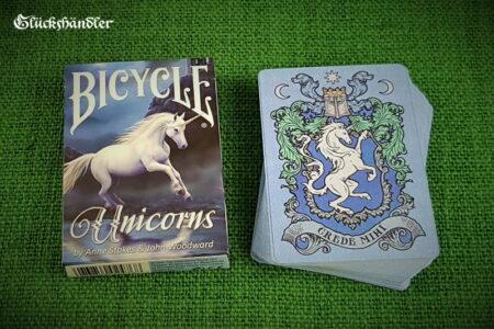 Spielkarten-Bicycle Unicorns von Anne Stokes & John Woodward. Verpackung